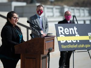 (Francisco Kjolseth  | The Salt Lake Tribune) Spanish language interpreter Lina Vega-Morrison translates for the Hispanic community during a press event at the Utah Capitol on Monday, March 15, 2021, to announce the launch of a new online application for Emergency Rental Assistance.