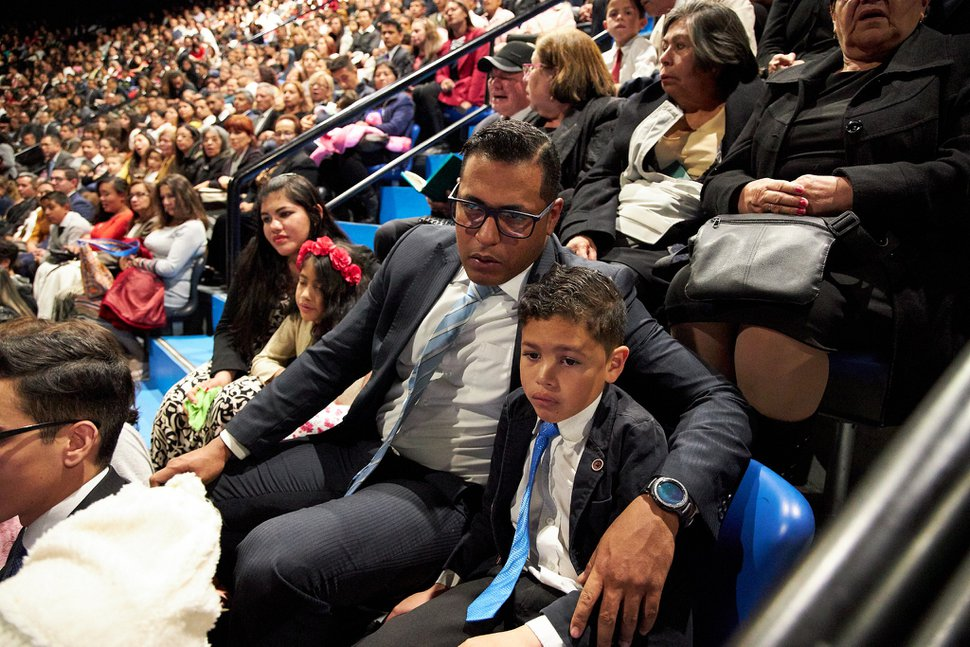 (Photo courtesy of The Church of Jesus Christ of Latter-day Saints) Latter-day Saints gather to hear President Russell M. Nelson speak at the Movistar Arena in Bogotá, Colombia, on Aug. 25, 2019.