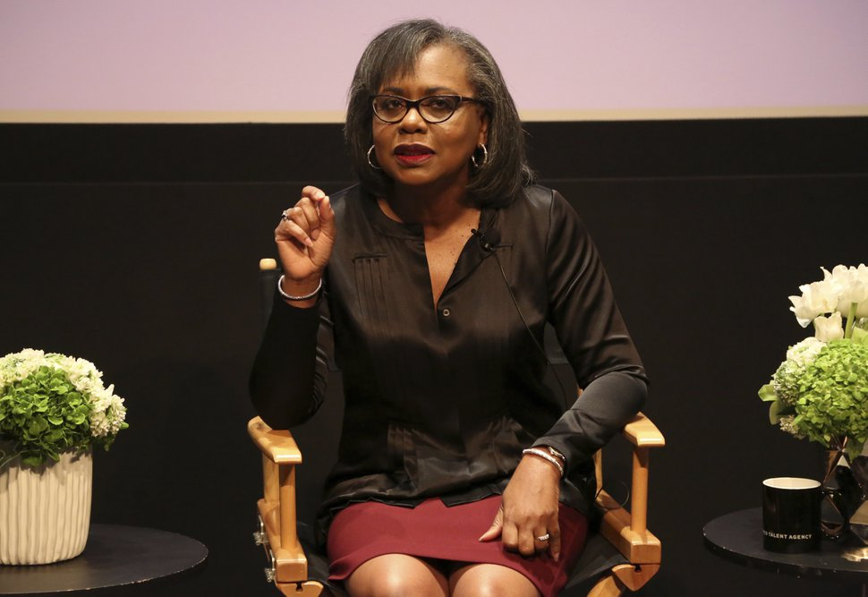 (Willy Sanjuan | Associated Press file photo) In this Dec. 8, 2017, photo, Anita Hill speaks at a discussion about sexual harassment and how to create lasting change from the scandal roiling Hollywood at United Talent Agency in Beverly Hills, Calif.