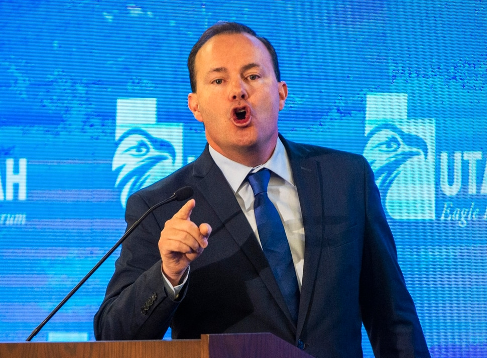 (Rick Egan | The Salt Lake Tribune) Sen. Mike Lee shares his feelings about the Iran military briefing while speaking at the Utah Eagle Forum Convention, in Sandy, Saturday, Jan. 11, 2020.