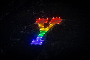 (Isaac Hale | Special to The Tribune) The Y on Y Mountain east of Provo is lit in rainbow-flag colors to show support for the LGBTQ+ community on Thursday, March 4, 2021.