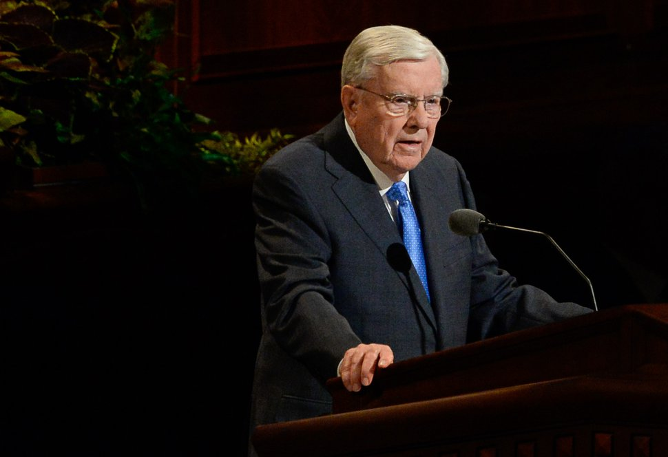 (Francisco Kjolseth | The Salt Lake Tribune) M. Russell Ballard, acting president of the Quorum of the Twelve Apostles, addresses those gathered for the Sunday afternoon session of the 189th Semiannual General Conference of The Church of Jesus Christ of Latter-day Saints at the Conference Center in Salt Lake City on Sunday, Oct. 6, 2019.