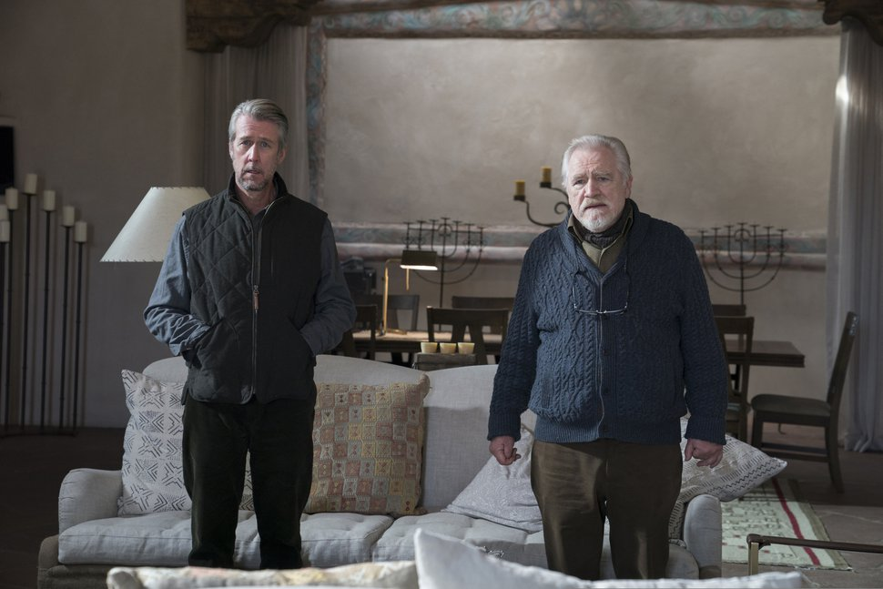 This image released by HBO shows Alan Ruck, left, and Brian Cox in a scene from