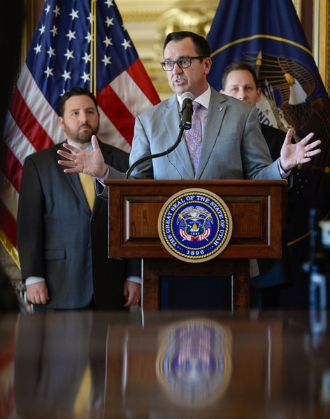 (Francisco Kjolseth | The Salt Lake Tribune) House speaker Greg Hughes addresses the crowd gathered in the Gold Room of the Utah Capitol on Tuesday, March 27, 2018, prior to the signing by Gov. Gary Herbert of H.B. 472, which would expand Medicaid healthcare coverage to cover an additional 60,000 Utahns below the poverty line — pending approval from the federal government.
