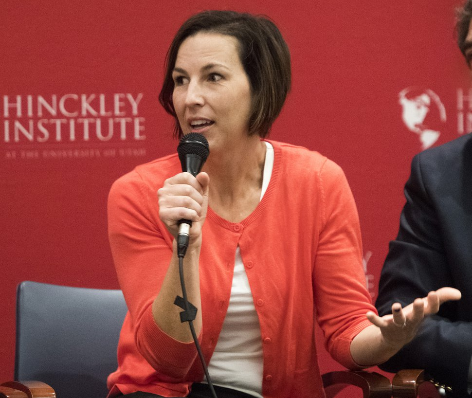(Rick Egan | The Salt Lake Tribune) Utah State House Democratic candidate Suzanne Harrison speaks during a panel discussion at the Hinckley Institute, during a discussion on how religion and politics mix, Monday, October 3, 2016.