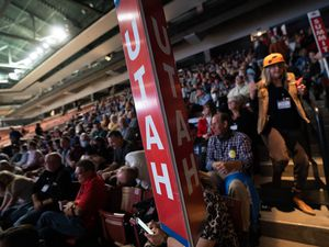 (Francisco Kjolseth | The Salt Lake Tribune) Delegates attend the Utah Republican Party's 2021 Organizing Convention at the Maverik Center in West Valley City on Saturday, May 1, 2021, as they return to an in-person format after the pandemic forced the nominating convention to go online last year.