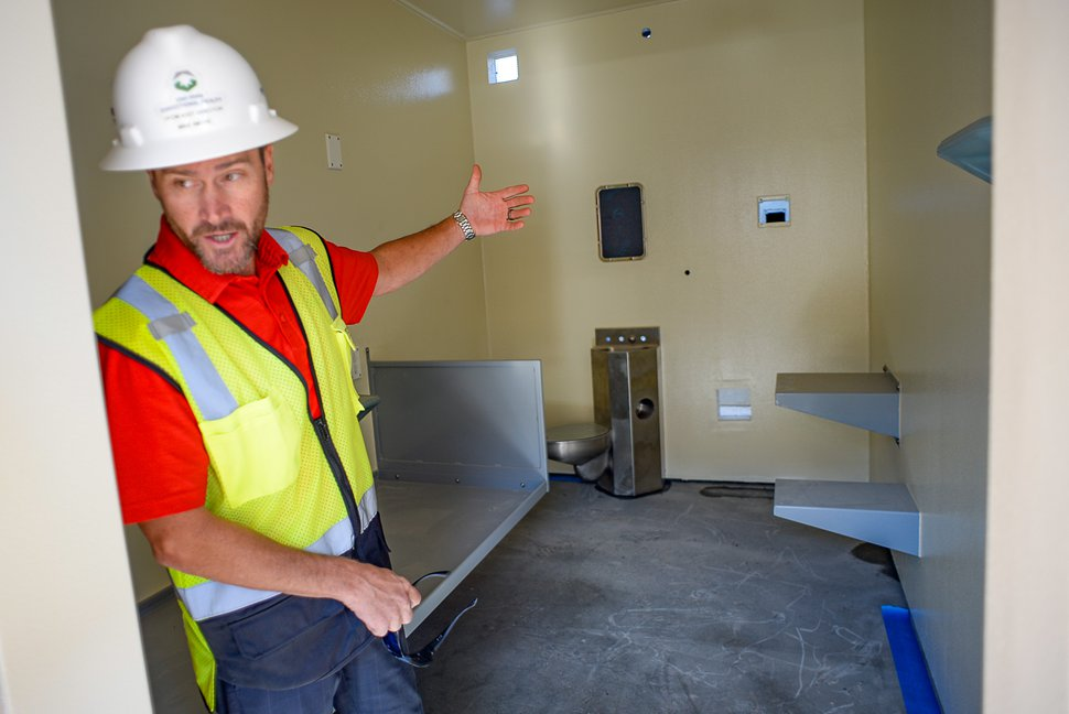 (Francisco Kjolseth | The Salt Lake Tribune) Michael Ambre, assistant director of special projects for the Division of Facilities Construction and Management, gives a tour of a single-occupancy cell unit in the men's max site at the new state prison in Salt Lake City on Thursday, Sept. 12, 2019.