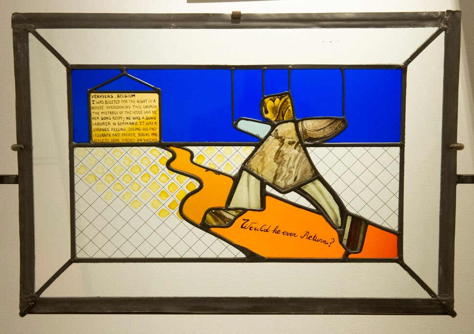 (Rick Egan | The Salt Lake Tribune) Veviers, Belgium, Unidentified sanctuary, is part of the the McDonald Windows, stained glass exhibit, Remembered Light, which features fragments from World War II windows. The exhibit brought to Utah by the Salt Lake Interfaith Roundtable & the Peace Committee of the Utah District of Rotary International. The exhibit runs through Nov 17, at 175 South Main, in Salt Lake City. Monday, Oct. 29, 2018.