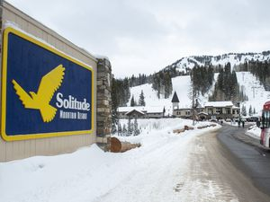 (Rick Egan | The Salt Lake Tribune) The entrance to Solitude Mountain Resort is pictured Wednesday, Dec. 11, 2019. Solitude has postponed its opening day, originally scheduled for Nov. 20, citing lack of snow.