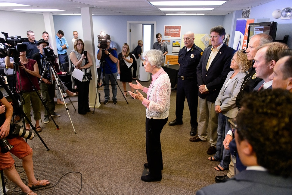 (Trent Nelson | The Salt Lake Tribune) Homeless advocate Pamela Atkinson speaks at a news conference on Operation Rio Grande, at Odyssey House in Salt Lake City, Tuesday August 22, 2017. At right are Salt Lake Police Chief Mike Brown, Rep. Jim Dunnigan, R-Taylorsville, Salt Lake City Mayor Jackie Biskupski, Commissioner of the Utah Department of Public Safety Keith Squires, Salt Lake County Mayor Ben McAdams and House Speaker Greg Hughes.