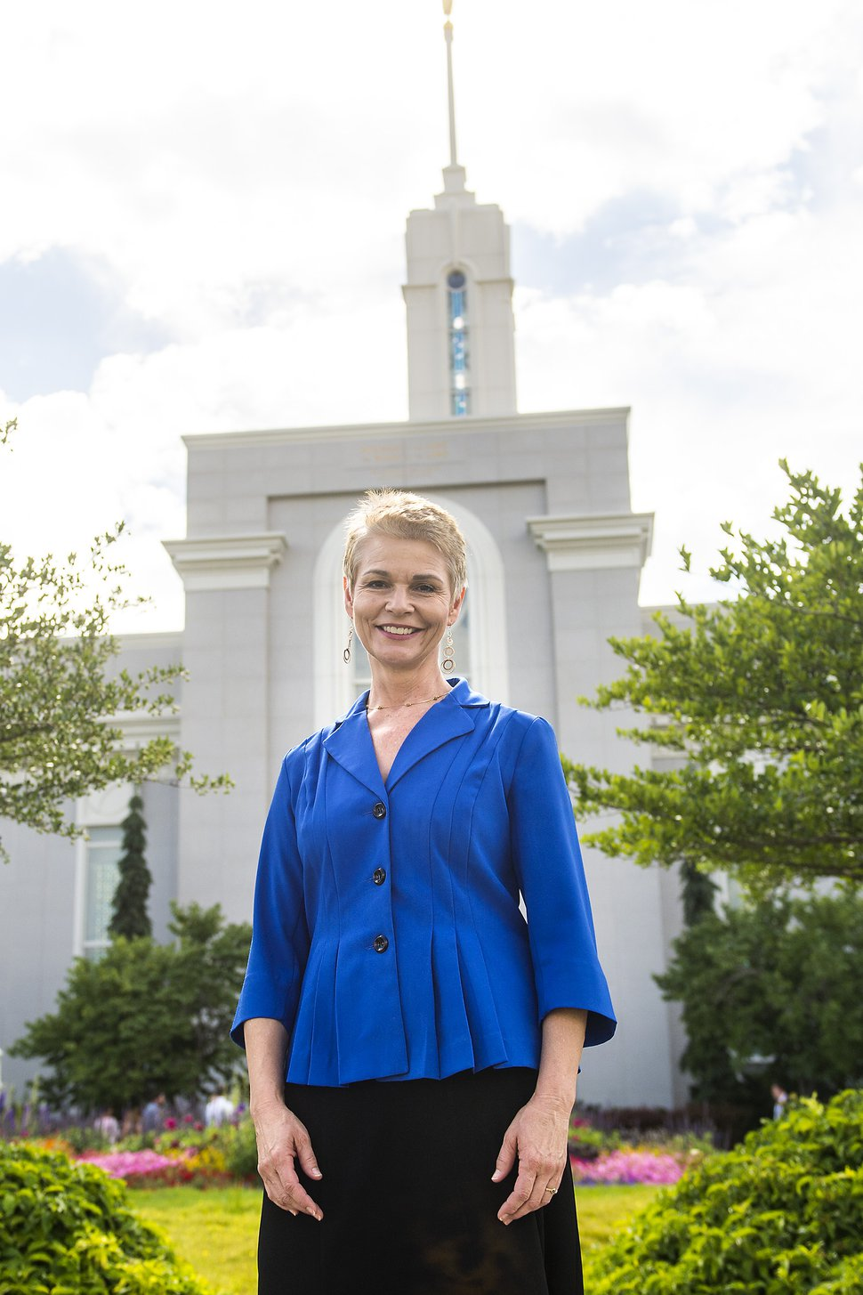 Chris Detrick | The Salt Lake Tribune Mormon Women for Ethical Government founder Sharlee Mullins Glenn poses for a portrait outside of the Mount Timpanogos Utah Temple Thursday, July 20, 2017.
