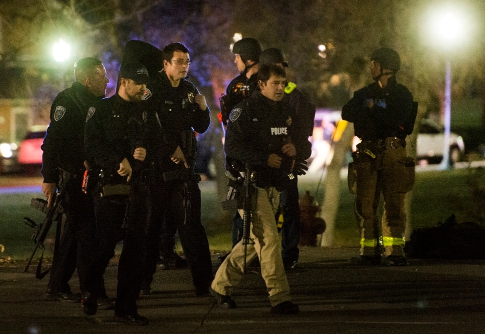 (Rick Egan   The Salt Lake Tribune) Police search for a gunman near Red Butte Garden on the University of Utah campus Monday, Oct. 30, 2017.