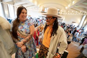 (Francisco Kjolseth   The Salt Lake Tribune) Jacqueline Whitmore, owner of Copperhive Vintage, and Abraham Von August, owner of Trashpaca, are working to make fashion friendlier to plus-size and gender-diverse people. They were photographed together at the Secondhand Market at The Clubhouse in Salt Lake City on Saturday, Sept. 11, 2021.