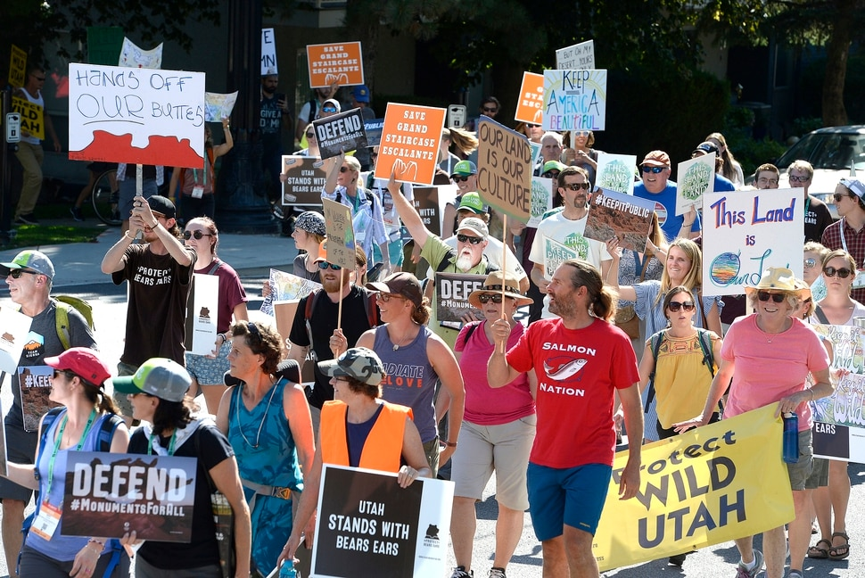 Scott Sommerdorf | The Salt Lake Tribune About 400 people marched from the Salt Palace to the Utah State Capitol during the