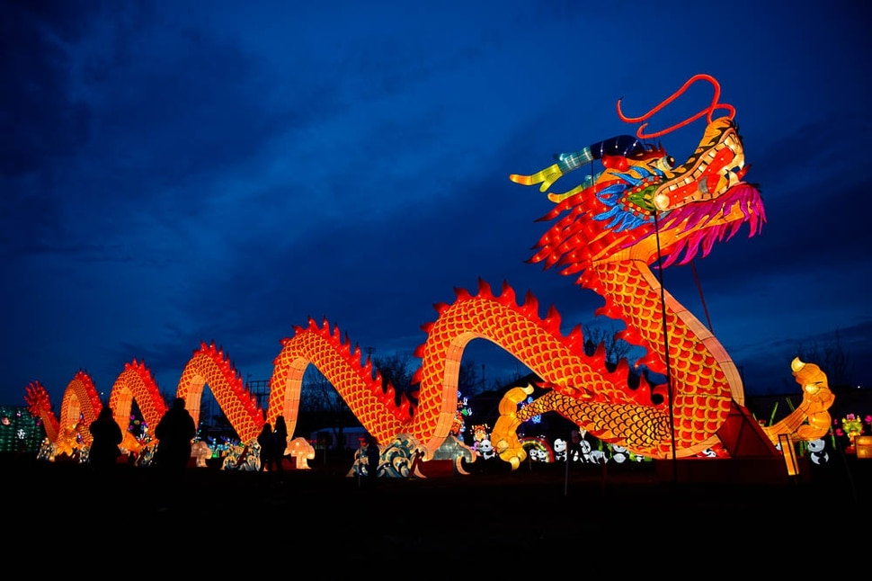 (Trent Nelson | The Salt Lake Tribune) Dragon Lights SLC, part of the China Lights touring festival, opens on March 23 and continues through May 6 at the Utah State Fairpark. This international cultural experience includes 39 custom-built illuminated exhibits, traditional Chinese handicrafts, dance and acrobatic performances, and a variety of Chinese food and traditional fair food and beverages.