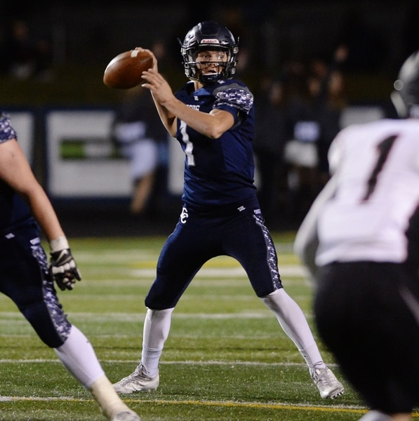 Steve Griffin / The Salt Lake Tribune Conner Canyon quarterback Zach Wilson fires a pass during Region 7 football game against Alta in Draper Wednesday October 19, 2016.
