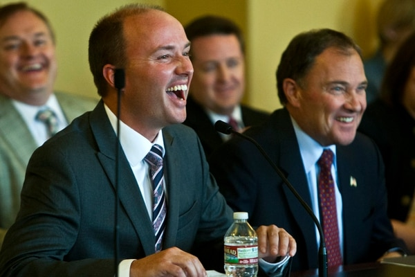 Chris Detrick   The Salt Lake Tribune Utah Governor Gary R. Herbert and Rep. Spencer Cox laugh during the confirmation hearing for Lieutenant Governor nominee Rep. Spencer Cox at the Utah State Capitol Tuesday October 15, 2013.