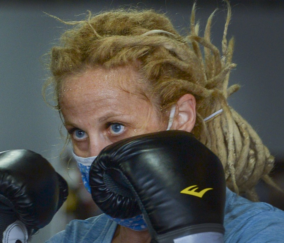 (Leah Hogsten | The Salt Lake Tribune) Women work out at Title Boxing Gym in Sugarhouse, June 5, 2020.