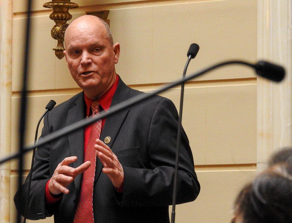 Trent Nelson | The Salt Lake Tribune Utah Senate Majority Leader Ralph Okerlund listens to debate in the Senate Chamber on HCR11, a bill that would urge the President to rescind the Bears Ears National Monument, during debate in the Senate Chamber in Salt Lake City, Friday February 3, 2017.