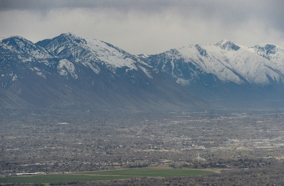(Francisco Kjolseth | The Salt Lake Tribune) Storm clouds roll over Utah County on Monday, April 6, 2020. Utah County, the stateÕs second-largest, has the third-most coronavirus cases of any jurisdiction in the state, according to new numbers released by the Utah Department of Health on Monday.