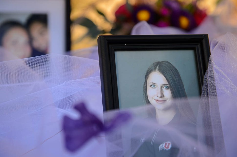 (Trent Nelson | The Salt Lake Tribune) Photos of Lauren McCluskey on display as It's On Us Utah hosts a celebration of McCluskey's life at the University of Utah in Salt Lake City, Friday Oct. 26, 2018.