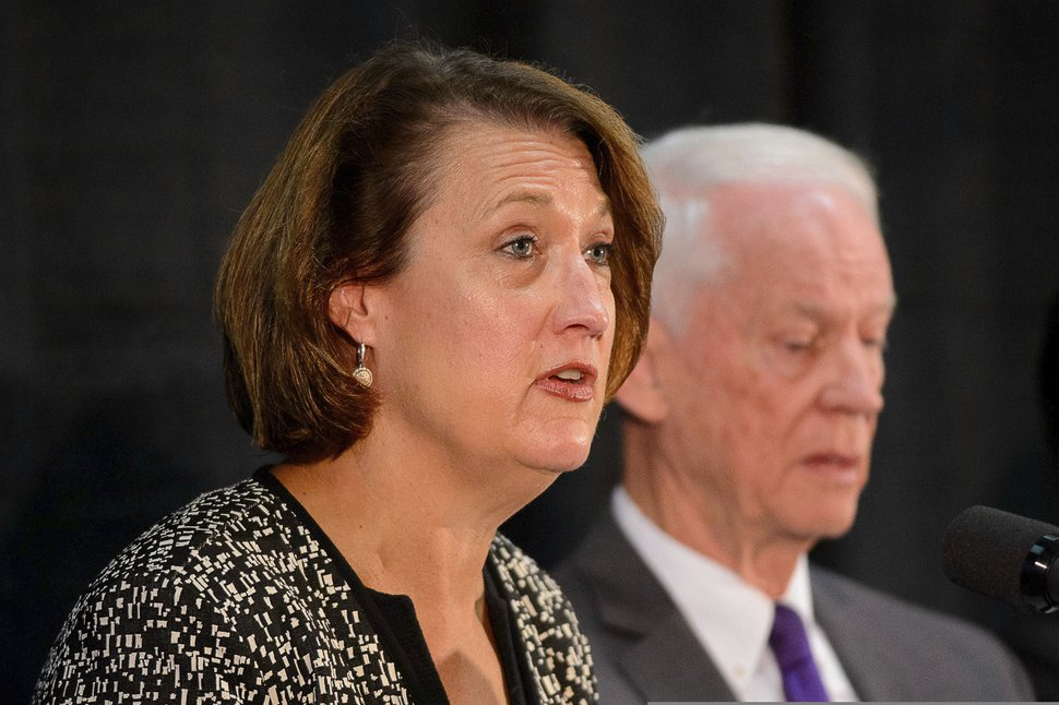 University of Utah President Ruth Watkins, left, with John Nielsen, a former commissioner for public safety, speaks at a news conference presenting the findings of a review of the Lauren McCluskey case, in Salt Lake City on Wednesday, Dec. 19, 2018. (Trent Nelson/The Salt Lake Tribune via AP)
