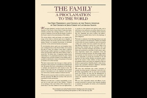 """(Image courtesy of The Church of Jesus Christ of Latter-day Saints) """"The Family: A Proclamation to the World"""" was unveiled in September 1995."""