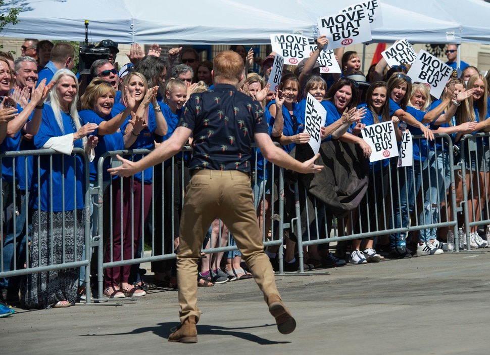 (Rick Egan | The Salt Lake Tribune) Jesse Tyler Ferguson gets the crowd going while filming an episode of the TV show Extreme Makeover: Home Edition in Ogden, Thursday, Aug. 15, 2019.