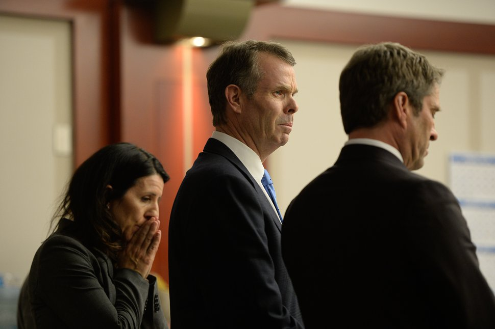 Francisco Kjolseth | The Salt Lake Tribune Former Utah Attorney General John Swallow listens, alongside his defense team, as the verdict is read during his public-corruption trial in Salt Lake City, Thursday March 2, 2017. Swallow was dismissed of all charges.