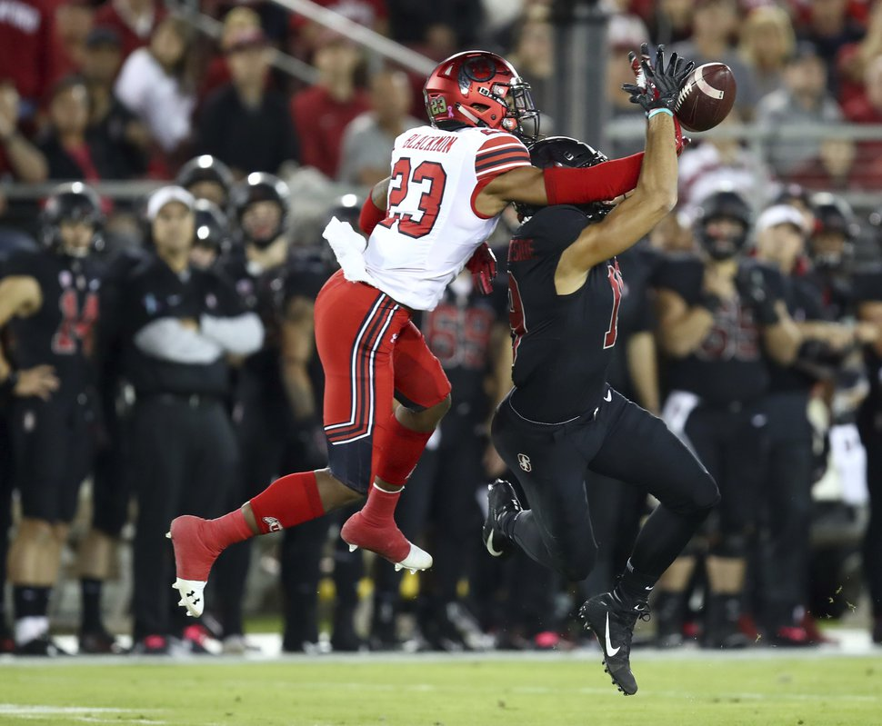 Utah's Julian Blackmon (23) breaks up a pass intended for Stanford's JJ Arcega-Whiteside during the first half of an NCAA college football game Saturday, Oct. 6, 2018, in Stanford, Calif. (AP Photo/Ben Margot)