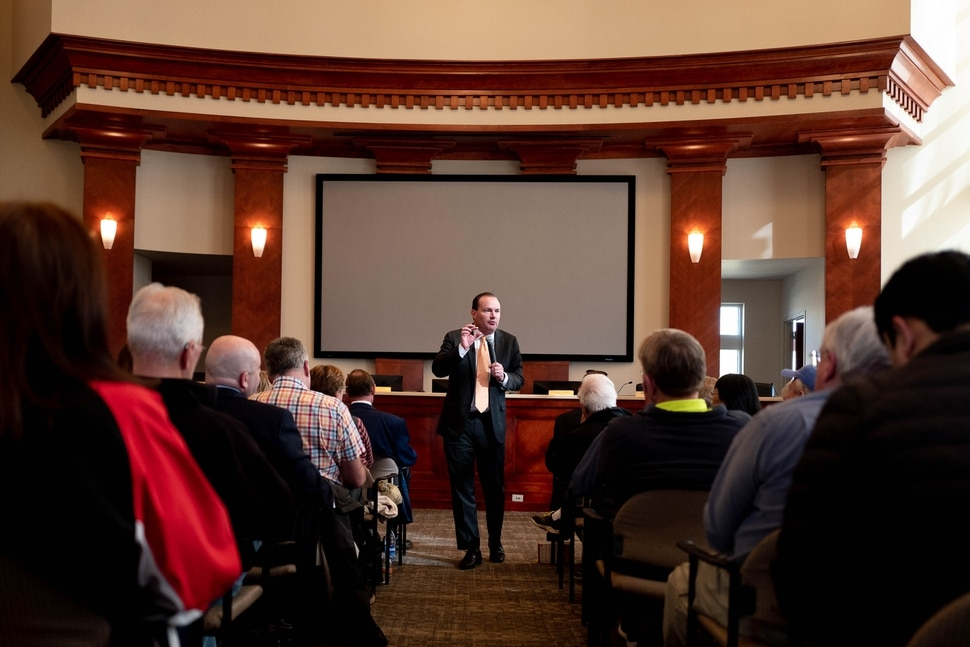 (Trent Nelson | The Salt Lake Tribune) Sen. Mike Lee answers questions at a town hall in Draper on Wednesday, Feb. 19, 2020.