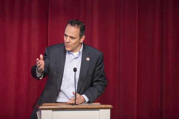 Kentucky Gov. Matt Bevin speaks in support of Marshall County in Benton, Ky., Friday, Jan. 26, 2018. Bevin spoke of the shooting at the high school that claimed the lives of two teenagers and injured 21 others. (Ryan Hermens/The Paducah Sun via AP)