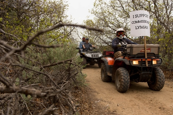 Trent Nelson | The Salt Lake Tribune Motorized vehicles make their way through Recapture Canyon, which has been closed to motorized use since 2007, after a call to action by San Juan County Commissioner Phil Lyman. Saturday May 10, 2014 north of Blanding.