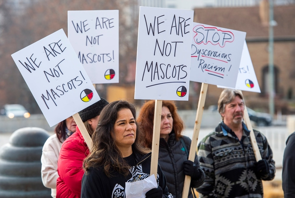 (Rick Egan | The Salt Lake Tribune) Native Americans and their supporters gather on the steps of the Utah State Capitol for a rally to oppose a resolution that would discourage the removal of Native American names or symbols from school mascots, Saturday, Jan. 25, 2020.