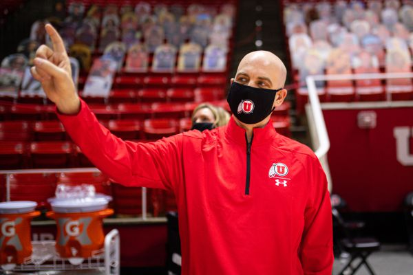 New University of Utah head coach Craig Smith tours the Huntsman Center on March 27, 2021.