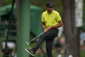 (David J. Phillip | AP) Tony Finau reacts after missing an eagle putt on the 15th hole during the second round of the Masters golf tournament on Friday, April 9, 2021, in Augusta, Ga.