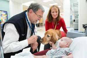 (Photo courtesy Schwarz Center for Compassionate Healthcare) Chaplain David Pascoe, joined here by a comfort dog, visits one of hundreds of young patients at Primary Children's Hospital.