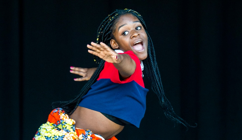 (Rick Egan | The Salt Lake Tribune) Diane Bahati, 15, performs at the Juneteenth festival at the Ogden Amphitheater, Saturday, June 15, 2019.