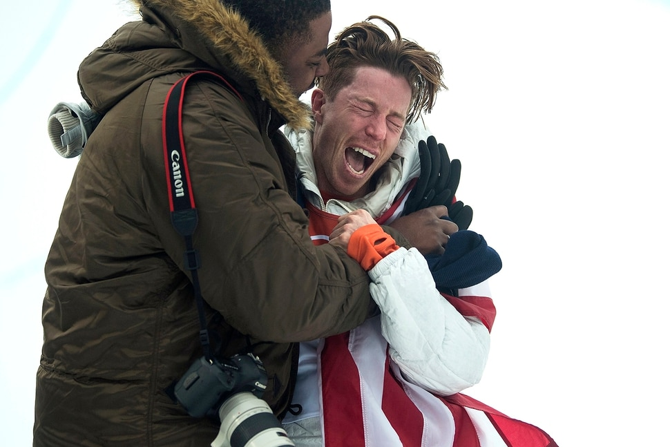 (Chris Detrick | The Salt Lake Tribune) Shaun White gets a hug from his friend Shaun Murdock after winning gold after his run during the men's halfpipe finals at Phoenix Snow Park during the Pyeongchang 2018 Winter Olympics Wednesday, Feb. 14, 2018. White won the event with a 97.75, his third Olympic gold medal in the halfpipe (2006, 2010, 2018).