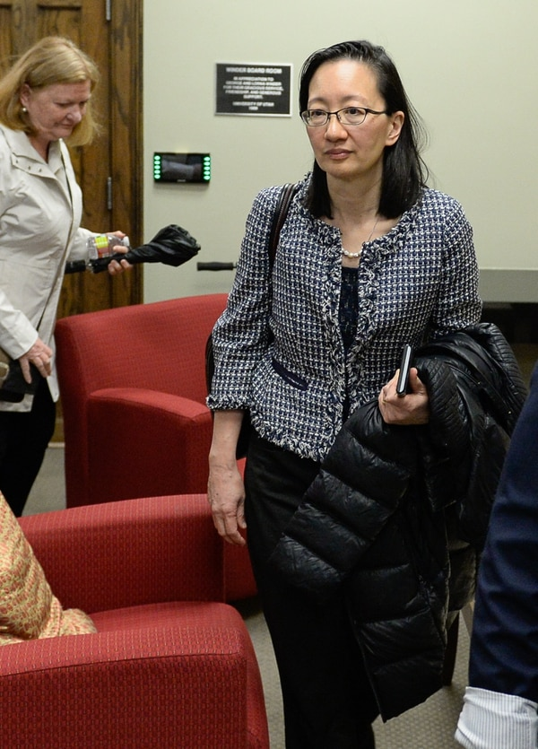 Francisco Kjolseth | The Salt Lake Tribune Vivian Lee, CEO of the University of Utah Health Care emerges from a university board of trustees closed executive session following discussions over the recent firing of Dr. Mary Beckerle, the CEO and director of the Huntsman Cancer Institute. A decision on her possible reinstatement is expected later in the day on Tuesday, April 25, 2017.