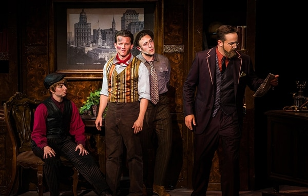 (Courtesy Photo) Hannah Record as Spot Conlon, Ryan Farnsworth as Jack Kelly, Daniel Scott Walton as Davey and Matthew Tyler as Joseph Pulitzer in the Tuacahn production of