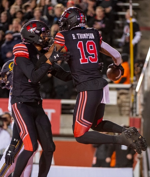 (Rick Egan | The Salt Lake Tribune) Utes wide receiver Bryan Thompson (19) celebrates after scoring a touchdown, in PAC-12 football action between the Utah Utes and the California Golden Bears at Rice-Eccles Stadium, Saturday, Oct. 26, 2019.