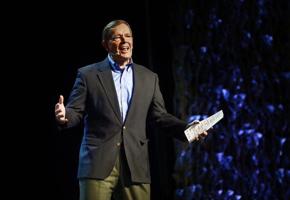 (Scott Sommerdorf | Tribune file photo) Former Utah Governor Mike Leavitt speaks at the RootsTech conference at the Salt Palace, Saturday, February 6, 2016.