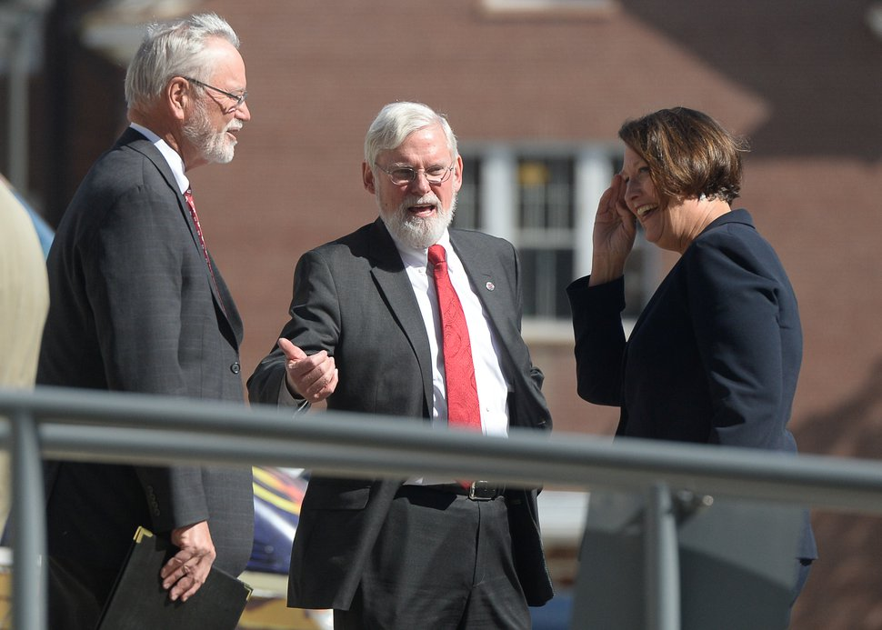 Francisco Kjolseth | The Salt Lake Tribune University of Utah President David Pershing, center, speaks with A. Lorris Betz, the interim U. Health Care CEO and Ruth Watkins, Sr. VP of Academic Affairs following a meeting at the Spencer F. and Cleone P. Eccles Health and Sciences Building on Monday, May 1, 2017. President Pershing announced he will be stepping down from his post, and that the search for his replacement will run in