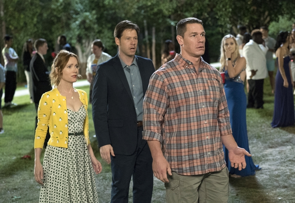 (Quantrell D. Colbert/Universal Pictures via AP) Leslie Mann, Ike Barinholtz and John Cena in a scene from