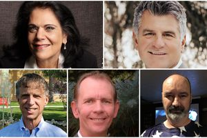 Candidates for Cottonwood Heights mayor, clockwise from top left: Maile Evans; Mike Weichers; Timothy Hallbeck; Eric Kraan; and Ed Schwartz.