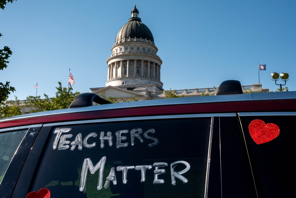 (Trent Nelson | The Salt Lake Tribune) Teachers and their supporters gather at the State Capitol in Salt Lake City in support of school safety in reopening plans, on Friday, Aug. 7, 2020.