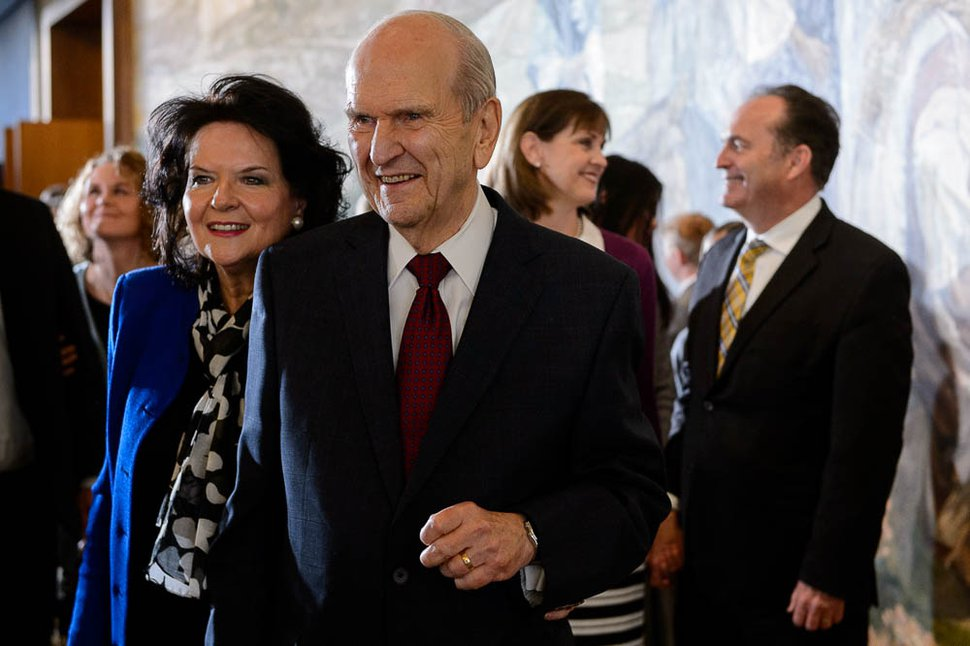 (Trent Nelson | The Salt Lake Tribune) Russell M. Nelson and his wife, Wendy Watson Nelson, after a news conference in the lobby of the Church Office Building in Salt Lake City, Tuesday, Jan. 16, 2018. Nelson was named the 17th president of the 16 million-member Church of Jesus Christ of Latter-day Saints.