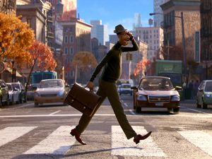 "(Image courtesy of Disney/Pixar) Joe Gardner (voiced by Jamie Foxx) is a New York jazz musician who goes on an adventure to the soul realm, in Disney/Pixar's animated tale ""Soul."" It debuts on Friday, Dec. 25, 2020, on the Disney+ streaming service."