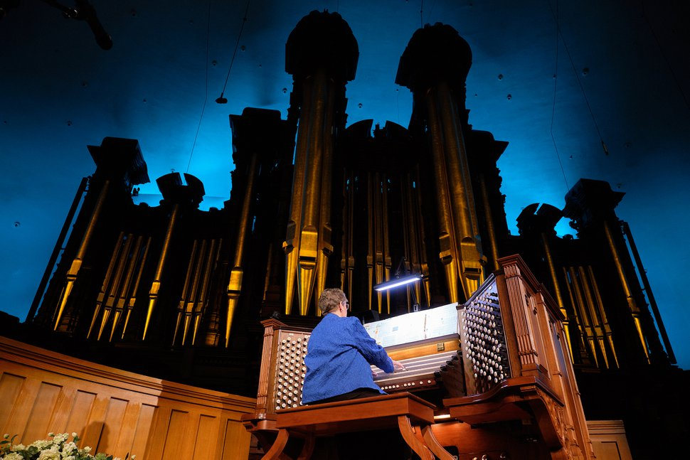 (Photo courtesy of The Church of Jesus Christ of Latter-day Saints) Temple Square organist Bonnie Goodliffe performs her final organ recital at the Tabernacle in Salt Lake City, Monday, Oct. 21, 2019. Goodliffe has been one of Temple Square's organists for 40 years.